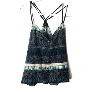 O'Neill Blue & Green Tank Top Blouse, Large NWT